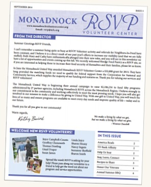 Monadnock RSVP Volunteer Center newsletter